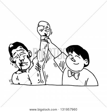 illustration vector hand draw doodles of referee lifting winner hand announcing victory isolated on white background