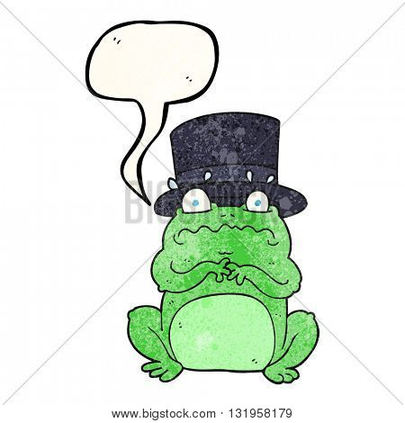 freehand speech bubble textured cartoon wealthy toad