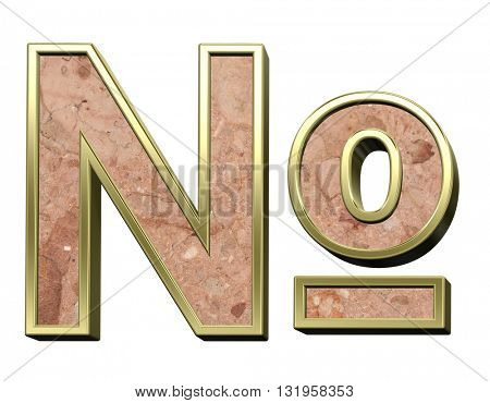 Number sign from stone conglomerate with gold frame alphabet set isolated over white. 3D illustration.