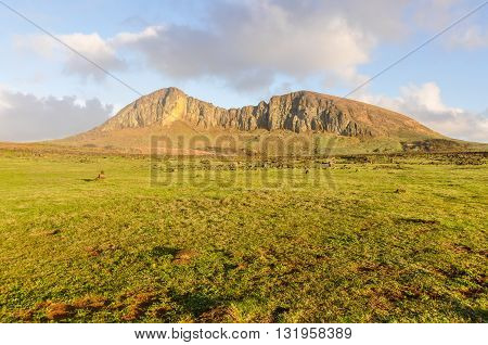 Mountaineous Landscape In Easter Island, Chile