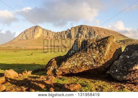 View Of A Fallen Moai, Easter Island, Chile