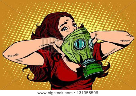 Civil defence girl wears a protective mask pop art retro vector. Nuclear war gas attack. Radiation safety. Gas mask vector