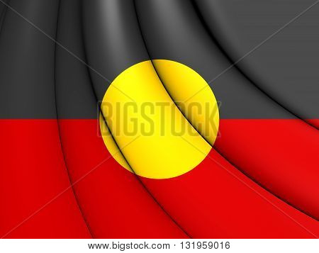 Australian Aboriginal Flag. Close Up. Front View.