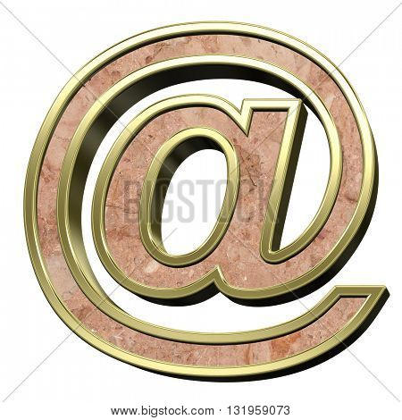 E-mail sign from stone conglomerate with gold frame alphabet set isolated over white. 3D illustration.