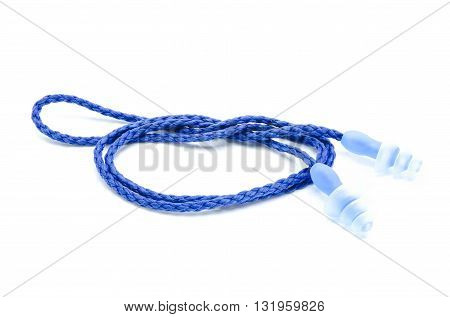 Blue Earplugs With A String On White Background.