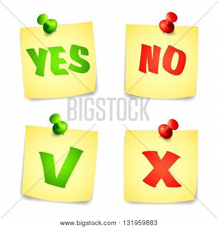 Yes and No check marks on pinned notes