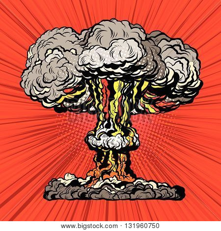 Nuclear explosion radioactive mushroom pop art retro vector. Nuclear war. Hydrogen bomb