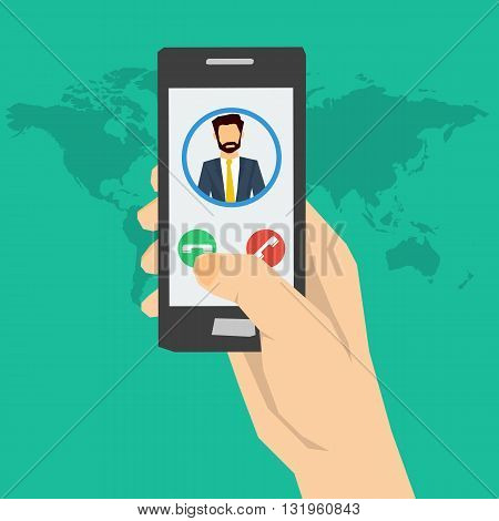 Vector concept call to man or incoming call on smartphone. Hand holding smartphone with man avatar on screen and two buttons. Using a smartphone. Flat style. Web infographics