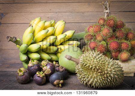 Tropical fruits rambutan mangosteen banana durian.Tropical fruits