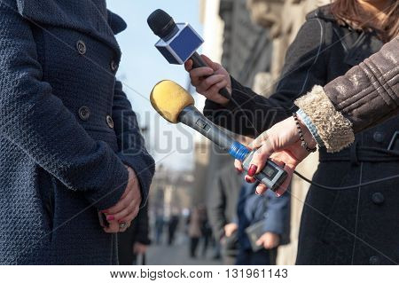 Save Download Preview Journalists interviewing spokesman, business man or politician. News conference.