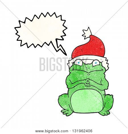 freehand speech bubble textured cartoon frog wearing christmas hat