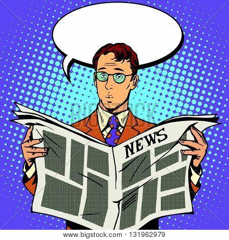 newspaper news surprise reader pop art retro vector