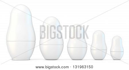Set of white unpainted matryoshka dolls. 3D render illustration isolated on white background