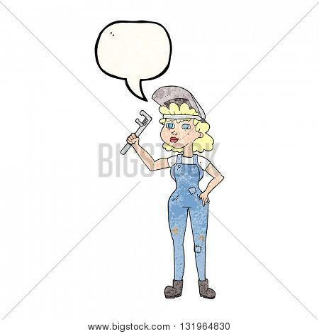freehand speech bubble textured cartoon capable woman with wrench