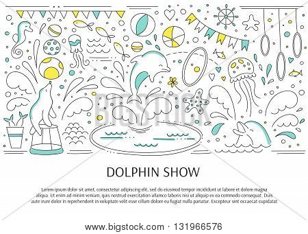 Vector horizontal banner template suitable for oceanarium or dolphinarium. Doodle dolphin show background. For posters, cards, brochures, souvenirs, invitations, website designs.