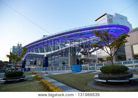 NAGOYA JAPAN - April 16, 2016:Oasis 21 and TV Tower in Sakae. Oasis 21 is a modern facility located adjacent to Nagoya TV Tower in Sakae.