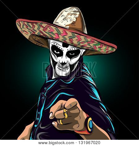 Day of the dead sugar skull man vector. Mexican skull. Day of the dead skull. Dia de los muertos skull illustration. vector illustration.