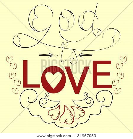 Lettering Bible God is love with hearts in red