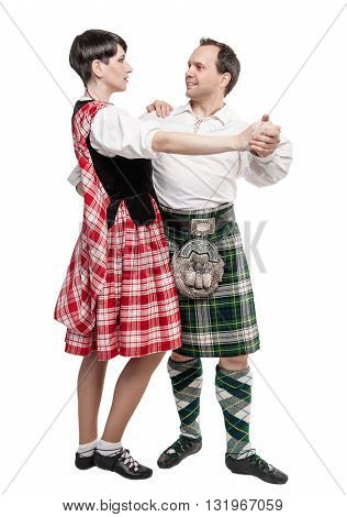 The Pair Woman And Man Dancing Scottish Dance