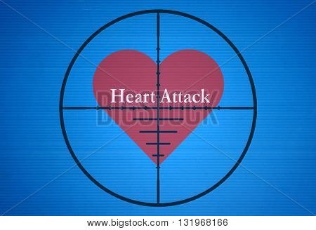 Text Heart Attack in the center of the target on blue background
