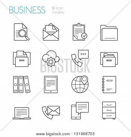 bussines and office line icons gray set of 16
