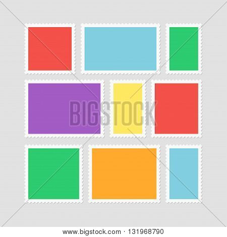 Postage stamps vector set. Blank postage stamps isolated from the background. Postage stamps dedicated to border. Collection of stamps with frames. Simple postage stamps icons.