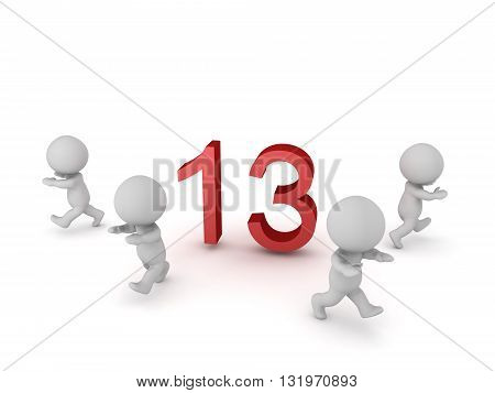 3D characters running away from the number 13. Isolated on white background.