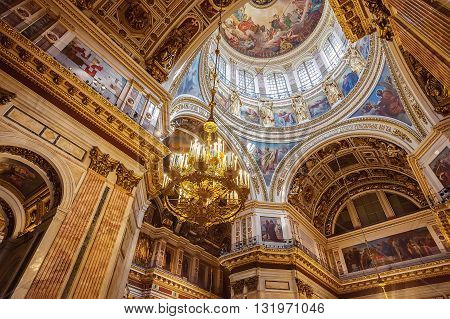 SAINT PETERSBURG, RUSSIA -MAY 23, 2016: Interior of St. Isaac's Cathedral (1819--1858). It is the largest Russian Orthodox cathedral in St.Petersburg