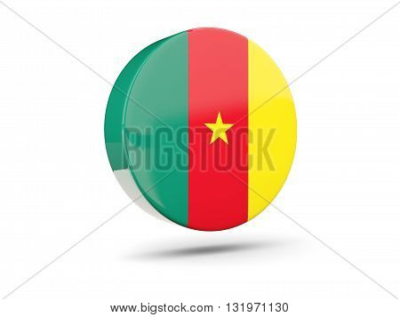Round Icon With Flag Of Cameroon