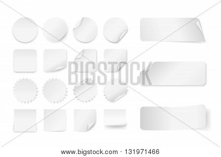 Set of white paper stickers on a white background. Round, square, rectangular. Vector EPS10 illustration.