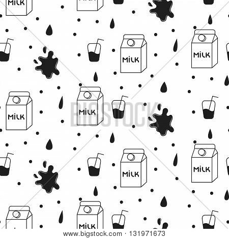 Milk and cookie seamless vector pattern. Dairy fun black and white pattern with milk carton box and milk splash drops on white.