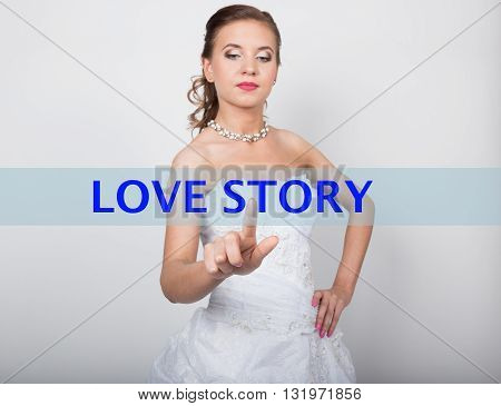 technology, internet and networking concept. Beautiful bride in fashion wedding dress. Bride presses love story button on virtual screens