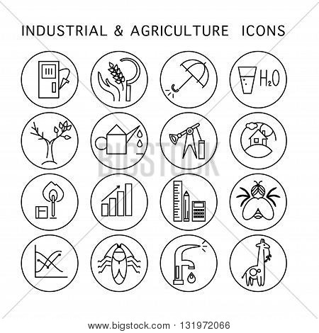 Vector industrial & agriculture icon set isolated on white background. Flat icon, logo, insignia, badge, symbol, brand. Simple icon concept for industrial, agriculture, ecology firm, home, science.