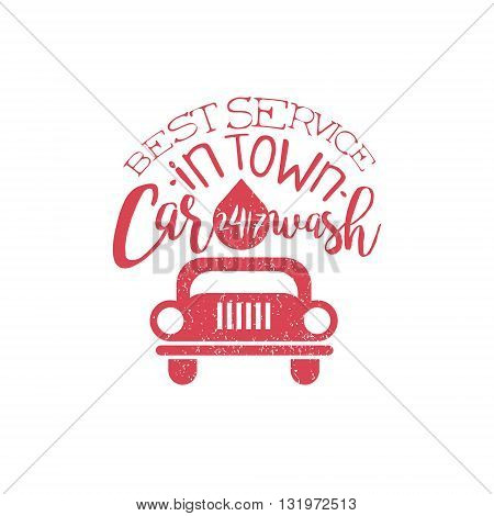 Carwash Red Vintage Stamp Classic Cool Vector Design With Text Elements On White Background