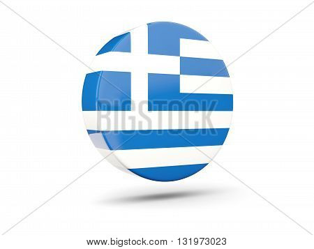 Round Icon With Flag Of Greece