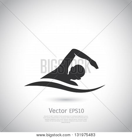 Swimming vector represents active people sport activity sign and symbol. Swimming logo.