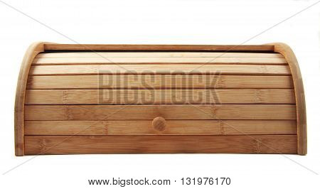 Big handmade wooden breadbasket isolated close up