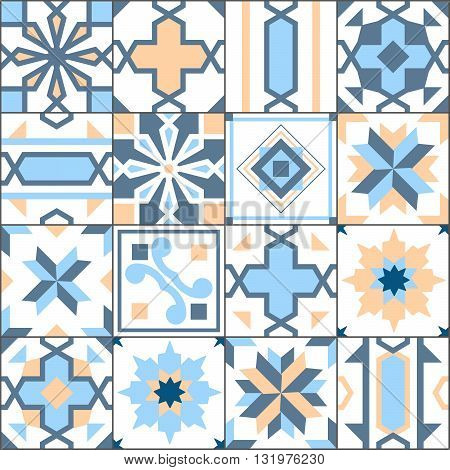 Vector Seamless Patchwork Tiles Floor. Pattern Of Painted Glazed Ceramic Tilework. Blue And Yellow T