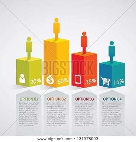 info graphics - colorful graph, square pillar, people