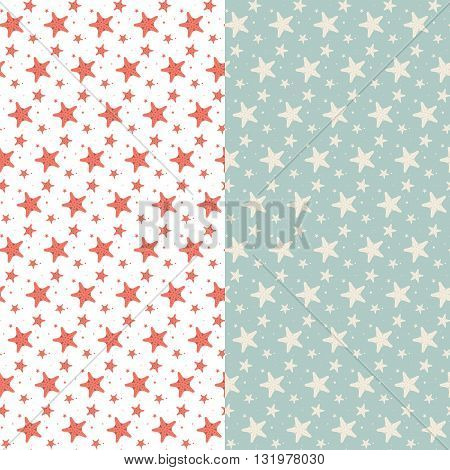 Set of cute vintage seamless patterns with starfis
