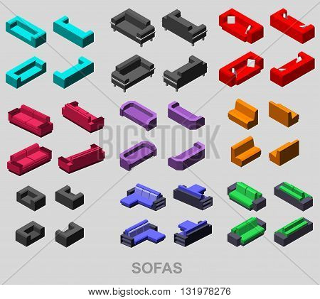 Set of the isolated isometric sofa. Vector sofa. Illustration sofa. Office sofa, sofa bed in living room, sofa in cafe. Colorful sofa.