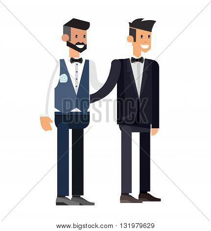 Nontraditional family. Happy cute wedding gay homosexual couple. Cool gay wedding character flat illustration. Vector gay wedding. Gay wedding