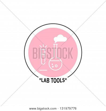 Vector lab tools logo isolated on white background. Flat design insignia, symbol, label, icon. Simple art logo lab tools, illustration, banner, journals.