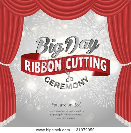 Grand opening celebration banner design vector illustration. Big day ceremony. Grand opening concept. Ribbon cutting. Grand opening background.