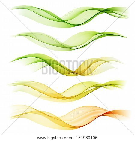 Set abstract color wave. Color smoke wave. Transparent wave. Abstract smooth wave vector. Smoke green wave. Vector yellow wave. Orange wave lines. Vector Abstract lines.