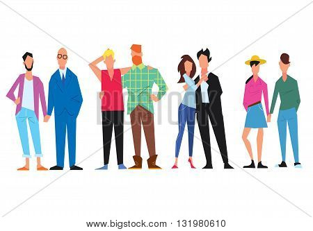 Extraordinary couples of different minorities. Gays and lesbian couple. Homosexual. Tolerance. Vector illustration.
