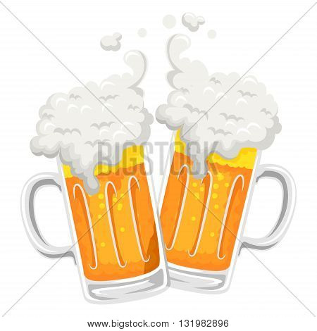 Vector Illustration of two Beer Mug Toast