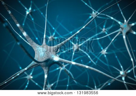 Signals In Neurons In Brain, 3D Illustration Of Neural Network.