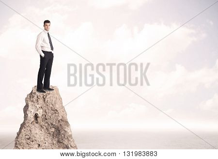 Successful sales person with brief case standing on top of a mountain cliff edge looking above the landscape between the clouds