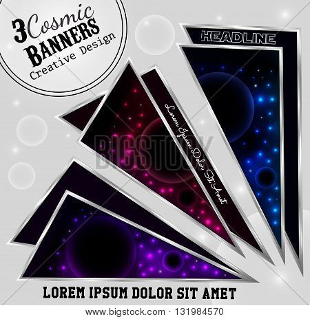 Three banner in futuristic style. Cosmic banners in a steel frame. ector illustration eps10